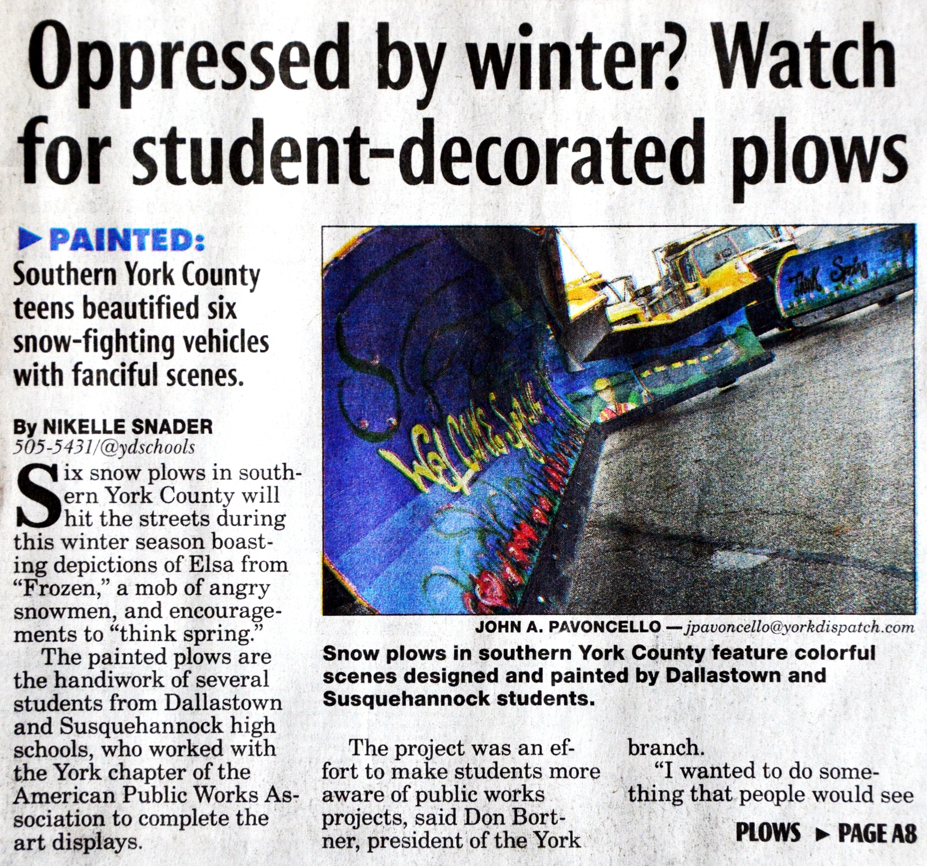 Plow Paint Project with local high schools
